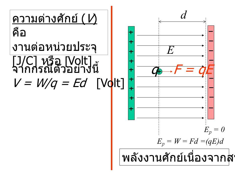 q F = qE d ความต่างศักย์ (V) คือ งานต่อหน่วยประจุ [J/C] หรือ [Volt] E